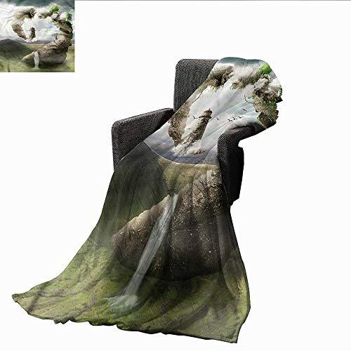 XavieraDoherty Camping Blanket,Fantasy,Dreamland Stone Bridge,Flannel Blankets Made with Plush Microfiber 60