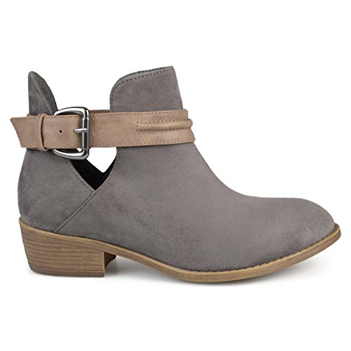Booties Grey Myra Faux Co Stacked Suede Womens Heel Brinley xR60UnwnT