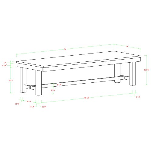 WE Furniture AZBH1DO Solid Wood Dining Bench, Dark Oak