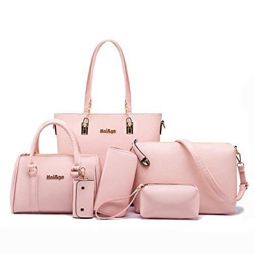 Women Designer Pureses And Handbags Set Satchel Shoulder Bags Tote Bags 6pcs Wallets (light pink)
