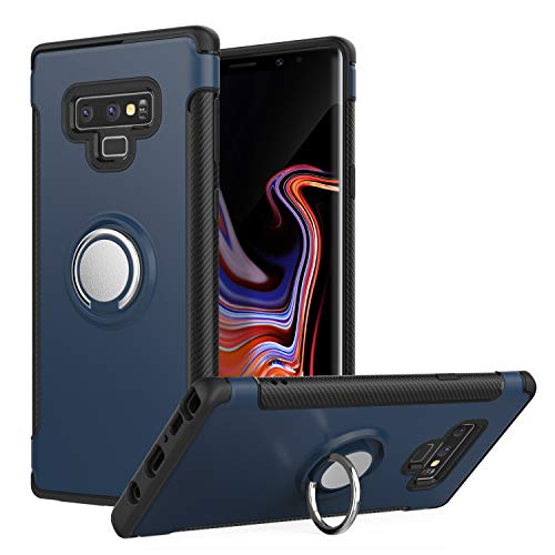 MoKo Samsung Galaxy Note 9 Case, Ring Clip Holder Case TPU Bumper Shock-Absorbing Anti-Scratch Hard Back Cover Fit with Samsung Galaxy Note 9 (2018) 6.4 Inch - Blue