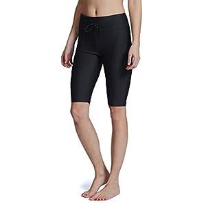 Baleaf Women's Long Board Shorts High Waisted Swim Shorts Sun Protection Bikini Bottom Black Size XXL