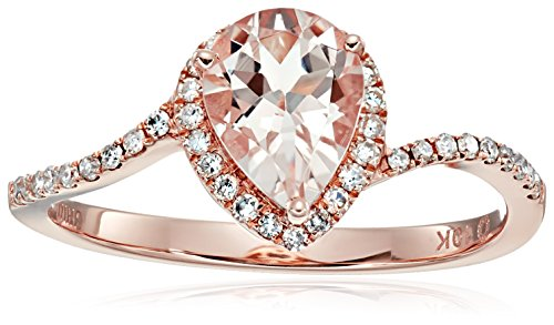 10k Rose Gold Morganite and Diamond Princess Diana Pear Shape Engagement Ring (1/5cttw, H-I Color, I1-I2 Clarity), Size (Princess Cut Diamond Shape Ring)