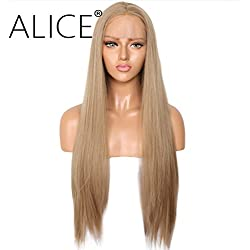 """ALICE Blonde Wig Lace Front Wigs, 24"""" Long Natural Straight Fashion Golden Brown Middle Part Synthetic Full Wig for Women Girls"""