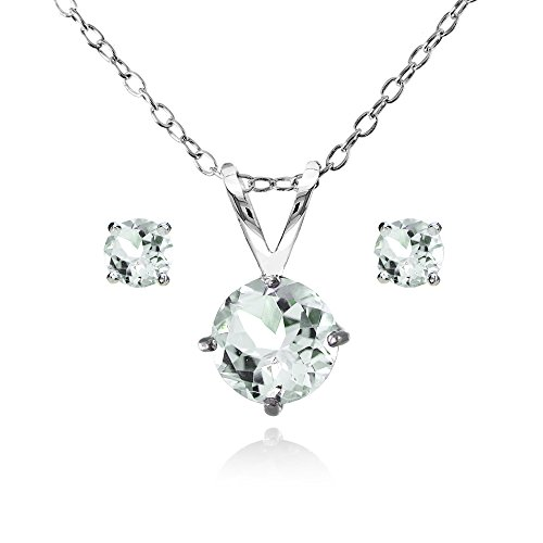 GemStar USA Sterling Silver Light Aquamarine Round Solitaire Necklace and Stud Earrings Set
