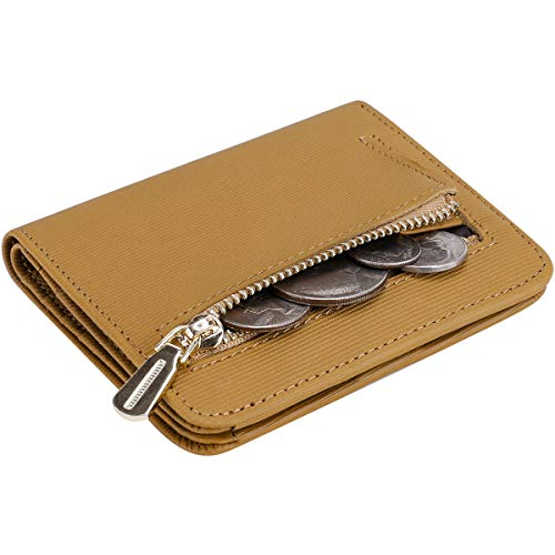 Itslife Women's Rfid Blocking Small Compact Bifold Leather Pocket Wallet Ladies Mini Purse with id Window (Stripe Light Brown) (Cowhide Travel Wallet)