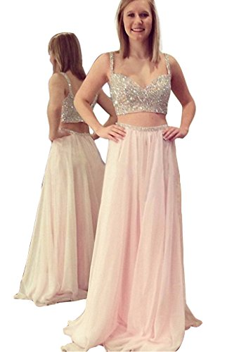 [Fashion Prom Dresses Long 2017 Two Pieces Beaded Sweetheart Backless Pleat Prom Gowns Pink-Custom Made] (Jkara Woman Beaded Chiffon Gown)