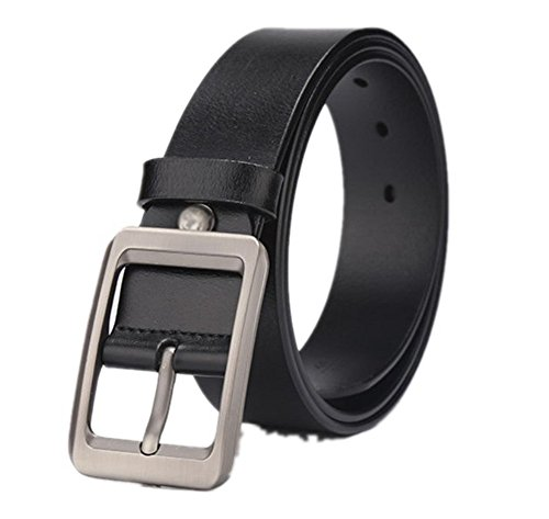 Youou pin buckle mens belt fashion new design exquisite male belts Black 115cm (Belted Straw Belt)