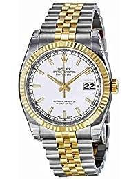 Datejust White Index Dial Jubilee Bracelet Fluted Bezel Two-tone Mens Watch 116233WSJ