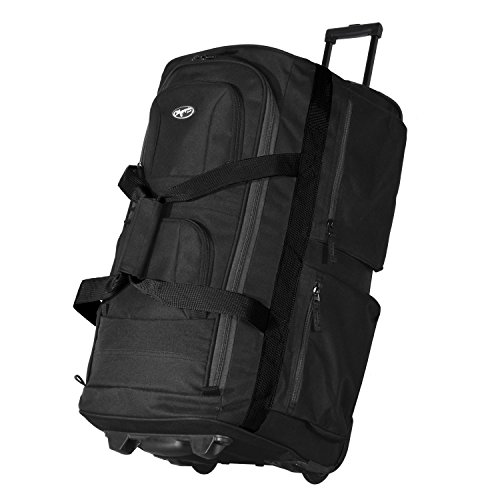 Olympia 33 Inch 8 Pocket Rolling Duffel (Black/Gray) by Olympia