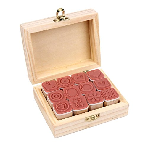 SUPPION 12PC Korea Simple Symbols Wooden Stamps, Wood Letter Stamp Seal for Diary Scrapbooking with Wooden Box