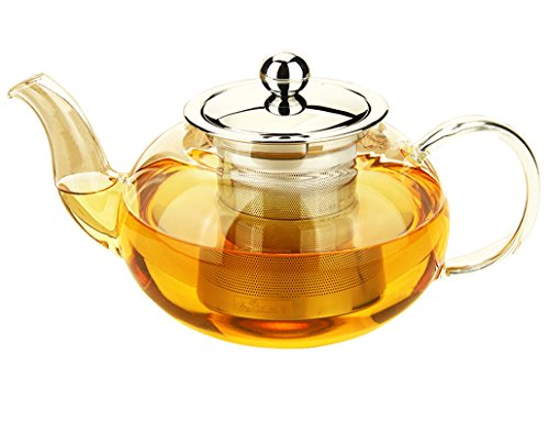 One Glass Teapot - Vivoice Glass Teapot Heat Resistant with Stainless Steel Infuser Borosilicate Glass Tea pot 20 Ounce / 600 ml (clear 1)