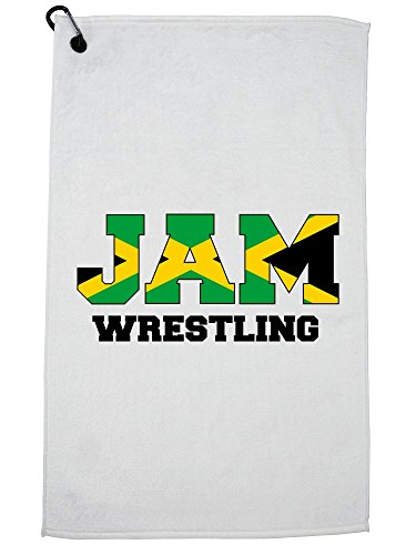 Hollywood Thread Jamica Wrestling - Olympic Games - Rio - Flag Golf Towel with Carabiner Clip by Hollywood Thread
