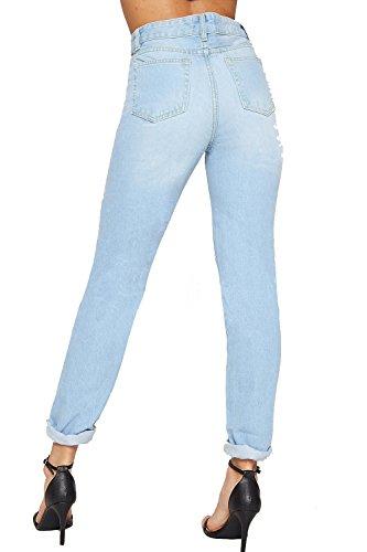 Jeans Extrme Pantalon Dames Maman Afflig Ripped Bleu 36 Taille 42 Femmes Pantalon lev Clair WEARALL x4Zz8wq0t4