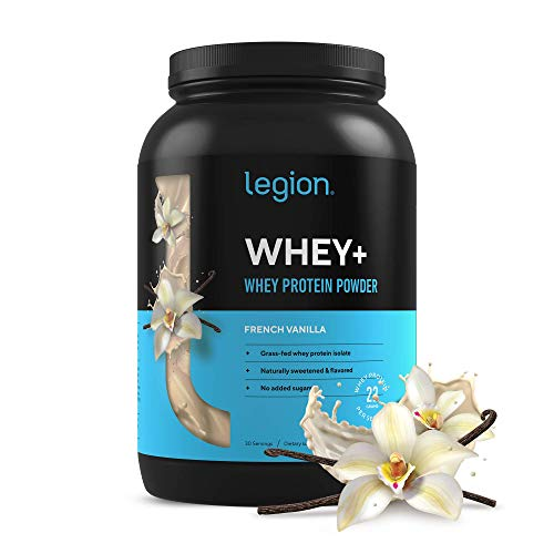 Legion Whey+ Vanilla Whey Isolate Protein Powder from Grass Fed Cows - Low Carb, Low Calorie, Non-GMO, Lactose Free, Gluten Free, Sugar Free. Great for Weight Loss & Bodybuilding, 30 Servings…