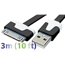 Exian CC018-Black 30 Pin to USB Flat Cable 3 Meter Black-Retail Packaging