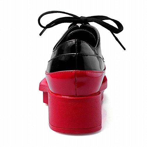 Latasa Plate-forme De Coutures Contraste Chic Mi-chunky Talon Faux Cuir Verni Chaussures À Lacets Oxford Rouge (couleur Principale)