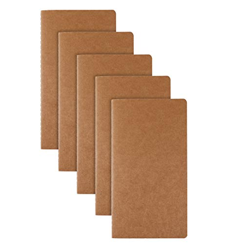RIANCY Pack of 5,Classic Lined Page Notebook Journal,Kraft Brown Soft Cover Writing Journal Diary Notebook Daily Notepad - H5 Size - 210 mm x 110 mm - 60 Pages/ 30 Sheets (Lines 5 Pack) (Executive Calendar Desk Line)