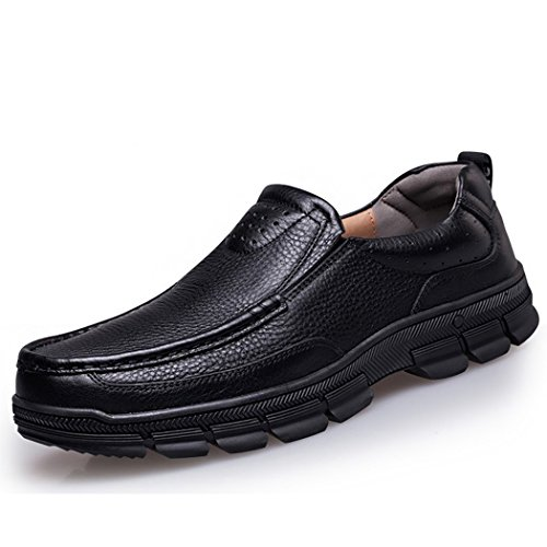 Autumn Melody Fashion Casual Business Genuine Leather Large Size Men Shoes Size 13 US Black by Autumn Melody