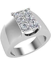 1.26 ct tw Six Stone Men's White Diamond Cluster Ring 18K Gold (G,VS)