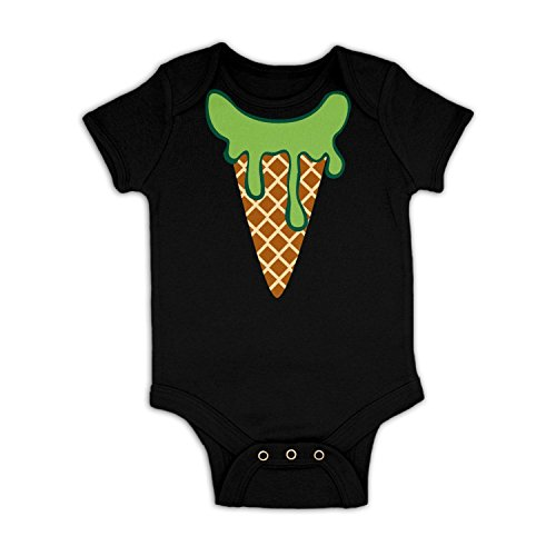 Ice Cream Head (Mint) Baby Grow - Black 3-6 (Ice Cream Dress Up)