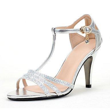 RTRY Sandalias De Mujeres Toe Ring Pu Glitter Verano Otoño Boda Vestido De Noche &Amp; Toe Ring Rhinestone Crystal Brillante Glitter Stiletto Talón US6.5-7 / EU37 / UK4.5-5 / CN37