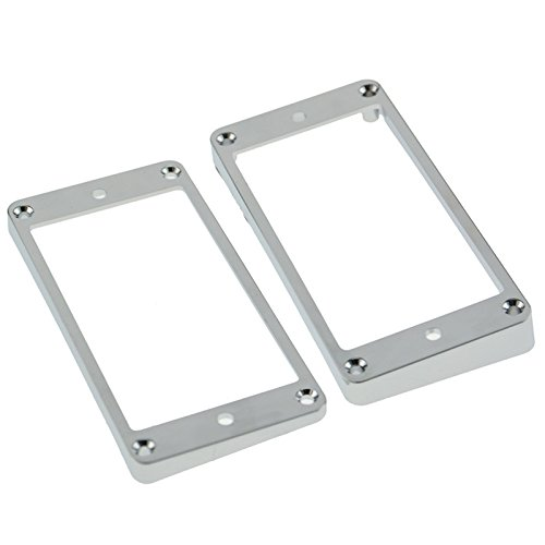 2x Plastic Humbucker Pickup Ring Frame Mounting Ring Chrome for Electric Guitar (Chrome Pickup Rings)