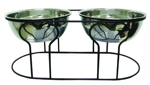 (YML 7-Inch Wrought Iron Stand with Double Stainless Steel Feeder Bowls)