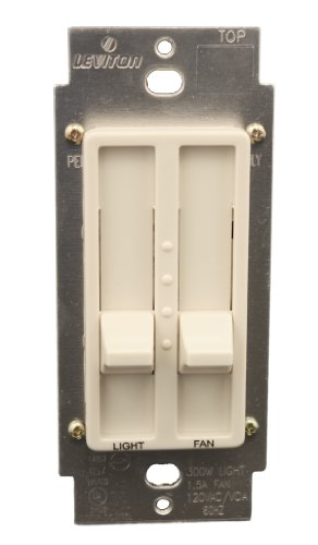 Leviton 6630-T SureSlide 1.5 Amp Dual Quiet Fan Speed Control and Dimmer, Single Pole, Light Almond