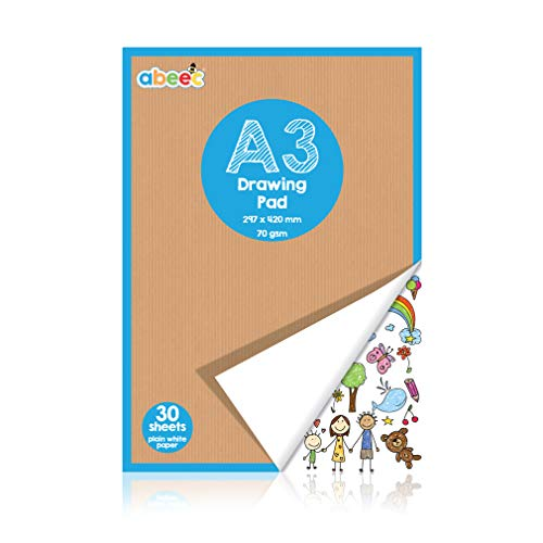 abeec A3 Plain Paper Drawing Pad – 30 Sheet Sketch Book – 30 Plain White Paper Sheets – 70 GSM Paper – Arts and Craft…