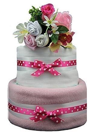Amazon.com: A poco Pulga rosa tarta de pañales de 2 niveles ...