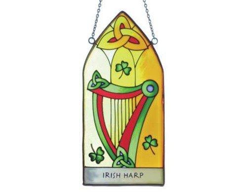 Gothic Stained Glass Windows - Irish Harp Suncatcher - gothic stained glass window hanging. Irish gift shipped from Ireland.