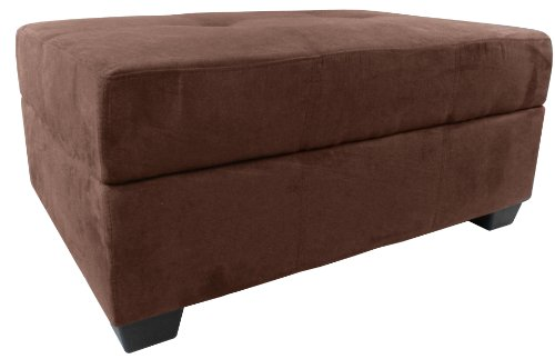 Epic Furnishings Vanderbilt 36 by 24 by 18-Inch Storage Ottoman Bench, Microfiber Suede Chocolate Brown