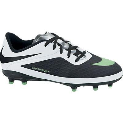 Nike JR HYPERVENOM PHELON FG Kid's Soccer Black/White/Metallic Silver/Neo Lime US sz.