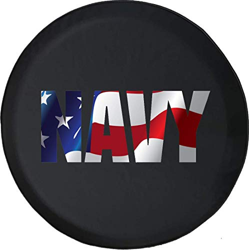 Navy Tire Cover - Jeep Tire Cover for Spare Tire US Navy Military Black 29 Inch