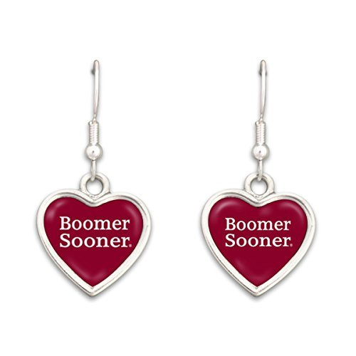 - FTH Oklahoma Sooners Heart Slogan Earrings