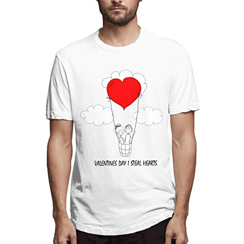 ZtbYuan Men Valentines Day I Steal Hearts Casual Shirt Casual Tees Perfect T-Shirts White S
