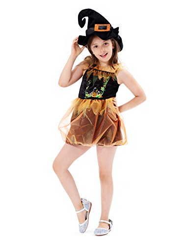 IKALI Girls Pumpkin Costume, Halloween Witch Dress Up Set, Carnival Party Performance Skirt, Scary Theme Outfits for Toddler(4-6Y)