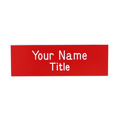 Name Badges - Name Tags - Custom Engraved with Magnet Fastener (Red/White)