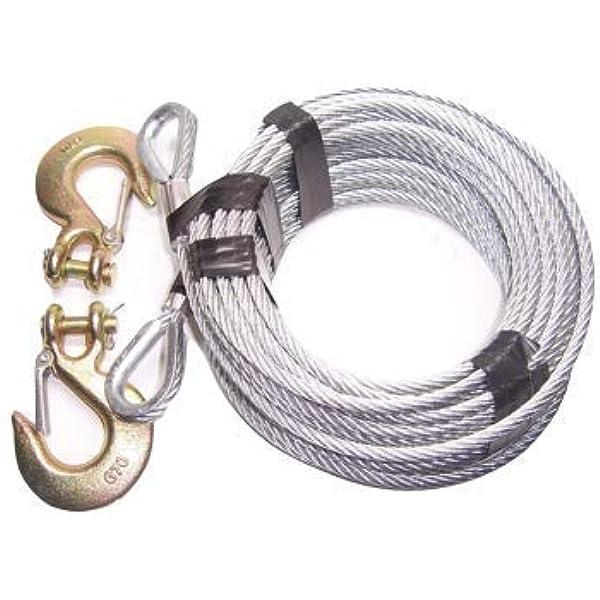 Amazon Com Advantage 5 16 7x19 Galvanized Steel Tow Cable 100 Ft With 3 8 G70 Clevis Slip Hooks Automotive