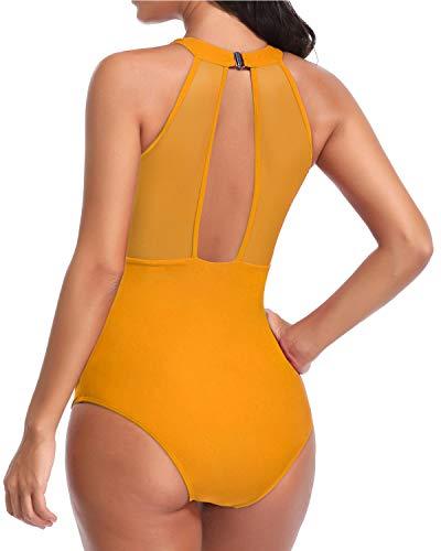 a5ff74070a Tempt Me Women One Piece High Neck V-Neckline Mesh Ruched Monokini Swimwear  Malachite Yellow