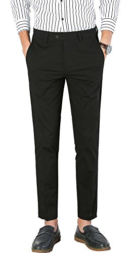 Plaid&Plain Men's Dress Pants Slim Fit Cropped Pants Mens Tapered Dress Pants 1828Black 29 -