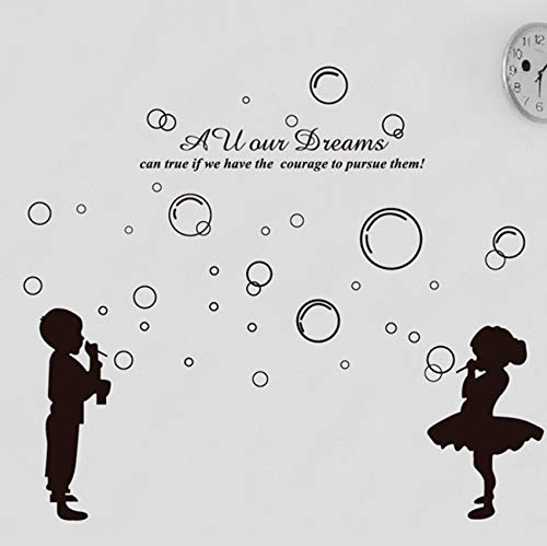 Dalxsh Blow Bubbles Girl Sticker Children's Room Decoratie Decals Removable Home Furnishing Decorative Wall Stickers Children Sticker 60X90Cm