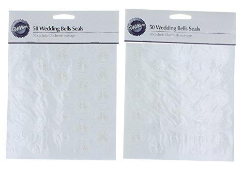 100 Wilton Embossed Wedding Bells White Invitation Thank you Envelope Seals