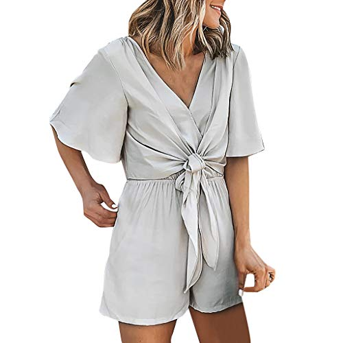 LIM&Shop Women Summer Romper  Casual V-Neck Flare Sleeves Top Jumpsuit Bodysuit Knoted T-Shirt Ruched Short Pants Gray