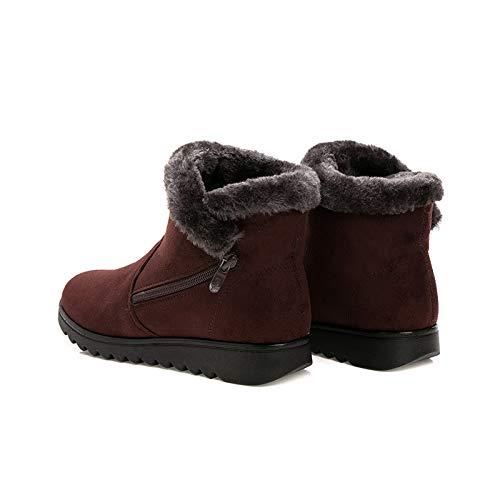 Fuxitoggo Con color Botas Cremallera Zapatos De Invierno Piel Planos Ar1tHwqA