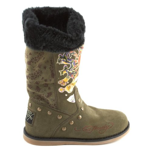 Womens Ed Hardy Green Kamikaze Bootstrap Boots Shoes