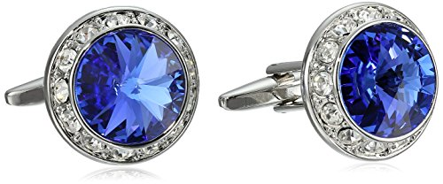 Stacy Adams Men's Silver Crystal Rondell Cuff Link, Royal, One Size Blue Royal Crystal Cufflinks