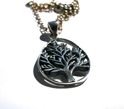 (Tree of Life Teardrop Pendant, Silver Tribal Pendant, Charm Necklace, Women Pendant, Men Pendant, Ethnic Pendant, Womens Gift, Mens Gift)