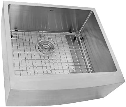 Nantucket Sinks APRON2420-SR-16 Pro Series Single Bowl Farmhouse Apron Front Stainless Steel Kitchen Sink, 24
